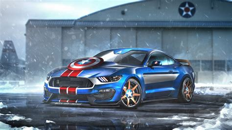 Captain America Ford Mustang Gt350r Wallpapers