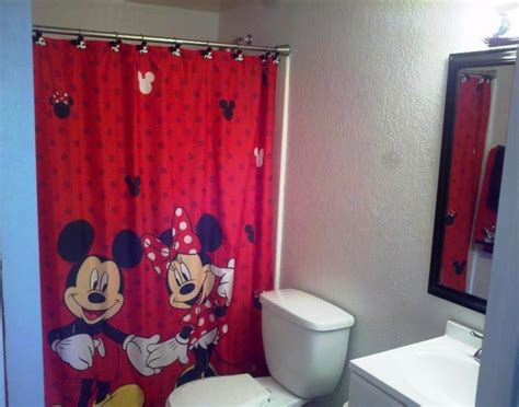 mickey minnie mouse fabric shower curtain bathroom fun