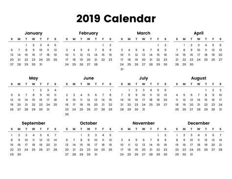 calendar template full year 2019 calendar with holidays printable full year calendar