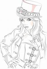 Coloring Pages Steampunk Adult Sheets Printable Pinup Books Detailed Adults Deviantart Fantasy Drawing Drawings Line Only sketch template