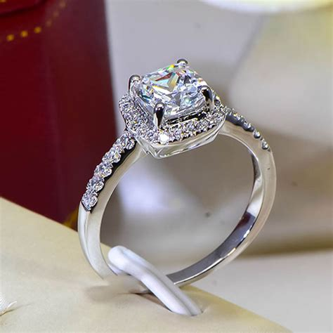 cushion 2 carat imitation diamonds engagement ring princess cut halo wedding rings for women aaa