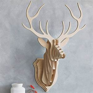 Wooden Stag Head Wall Trophy Stag head, Walls and Plywood