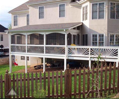 side porch with sunburst railing deck