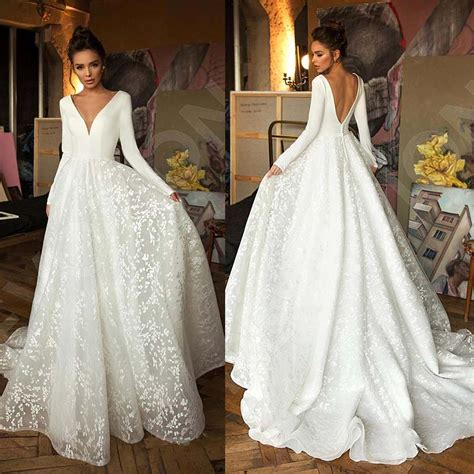 Vintage Long Sleeve Lace Satin Wedding Dress Sexy Deep V ...