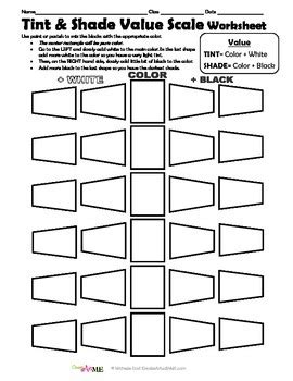 color value tints and shades 4 worksheets packet tpt