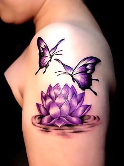lotus flower  butterfly tattoo idea