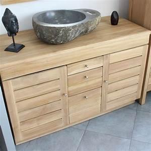 meuble sous vasque en teck 120 cm 18 711 With meuble sous vasque 120