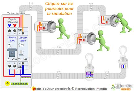 montage cablage branchement dun telerupteur  boutons