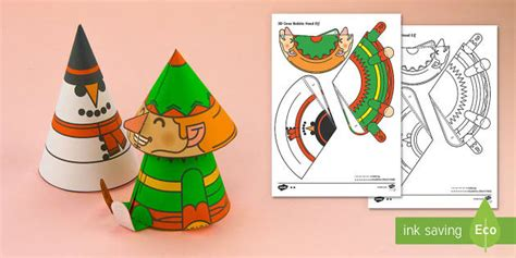 cone template twinkl simple 3d cone elf bobble head christmas activity paper craft