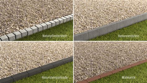 randsteine mit mähkante kies terrasse kiesterrasse einfassung pflasterstein randstein natursteinpalisade m hkante