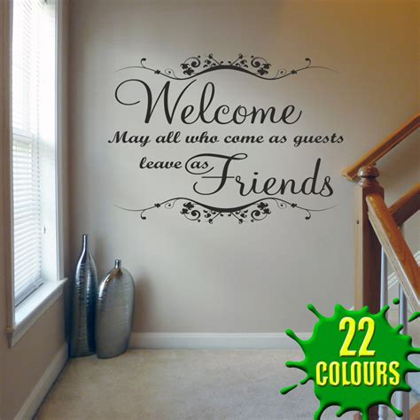 Quotes About Living Room by Welcome May All Who Come V1 Wall Decal Sticker Quote