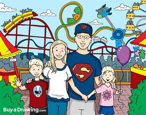 family cartoon portrait drawing   amusement park