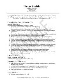 real estate resume sles real estate resume exle sle