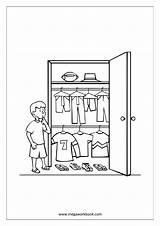 Coloring Wardrobe Template Armoires Wardrobes Sheet Kid sketch template
