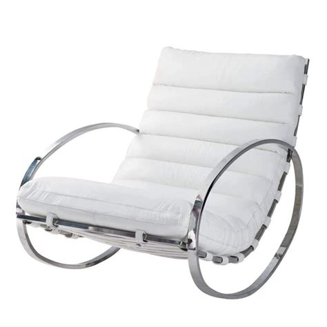 fauteuil design cuir blanc fauteuil 224 bascule en cuir blanc freud maisons du monde