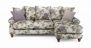 Ellie floral right hand facing 4 seater chaise end sofa for Floral sofa bed