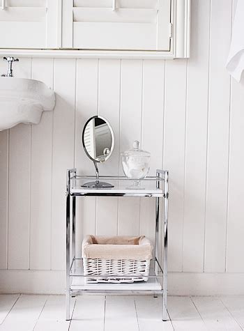 white gloss  chrome small bathroom shlelf  small spaces
