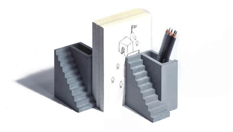 modern concrete bookend  holder feelgift