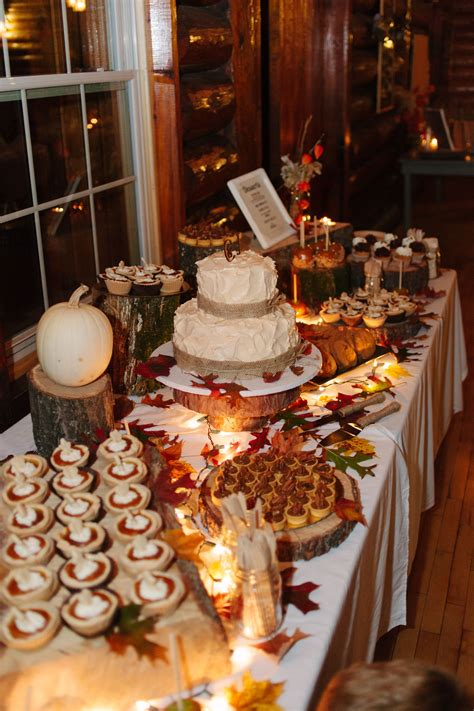 Fall wedding dessert table Fall wedding desserts Fall