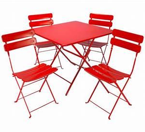 Salon De Jardin Pliant : salon de jardin pliant rouge mat 4 places 119 salon d 39 t ~ Teatrodelosmanantiales.com Idées de Décoration