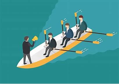 Team Rowing Liderazgo Teamwork Isometrische Concept Groepswerkconcept
