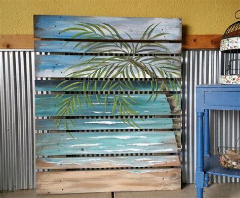 beach pallet art greenery hand painted beach reclaimed