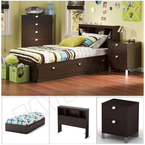 3 Piece Chocolate Modern Bedroom Furniture Collection Twin Size Platform Bed Set Ebay