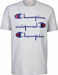 T Shirt Champion Homme : champion 3 logo t shirt gris ~ Carolinahurricanesstore.com Idées de Décoration