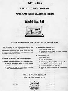 American Flyer Billboard Horn 561 Parts List  U0026 Diagram