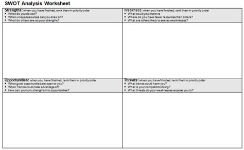 Swot Analysis Worksheet Template by Swot Analysis Worksheet Beneficialholdings Info