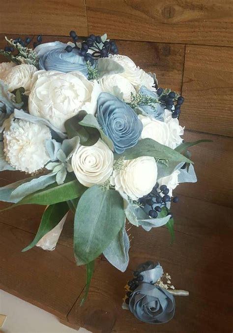 navy sage dusty slate steel blue sola flower bouquet