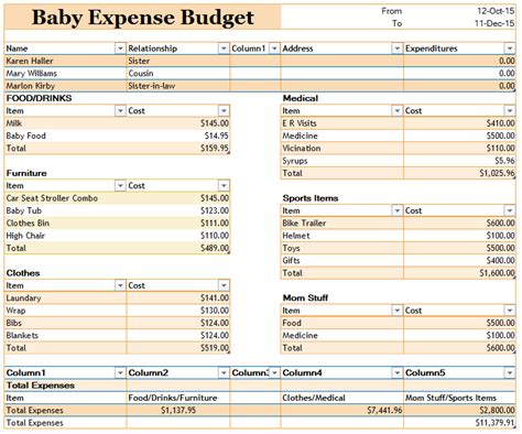 baby expense budget templates ms office documents