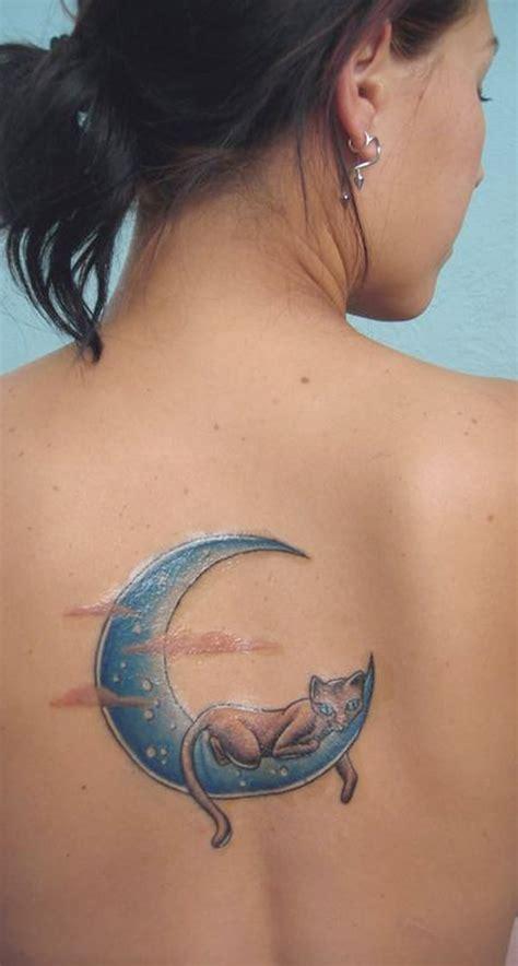 unique watercolor crescent moon  cat  tattoo ideas