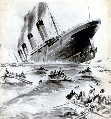 Titanic Sinking Black and White
