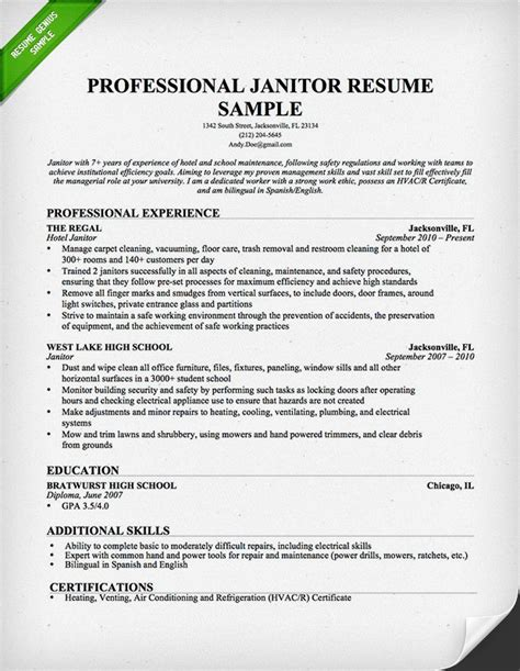 Janitor Resumes Sles by Sle Resume For Janitorial Sle Resume