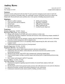 security supervisor resume exles security supervisor resume exles enforcement security resume sles livecareer