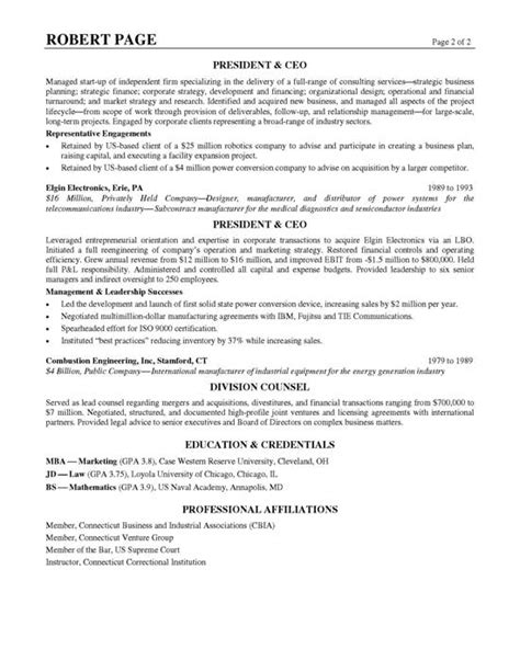 examples of professional profile on resume ceo resume example