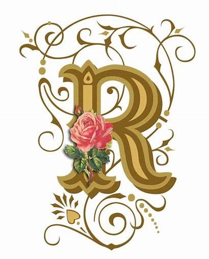 Clipart Letters Alphabet Illuminated Fancy Flower Transparent