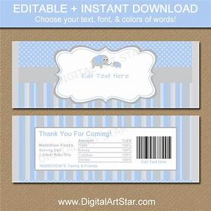 baby shower chocolate bar wrappers blue gray elephant candy With baby shower chocolate wrappers template