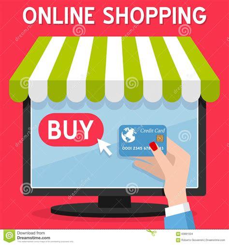 computer  shopping credit card stock vector image
