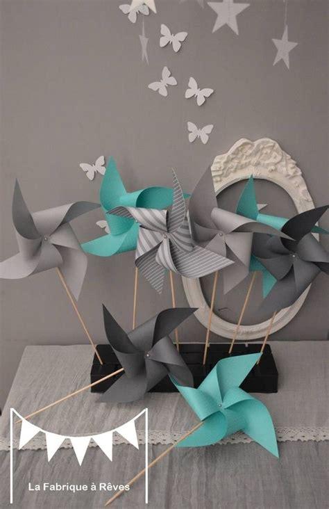 accessoire deco chambre bebe dispo 10 moulins à vent turquoise et gris décoration