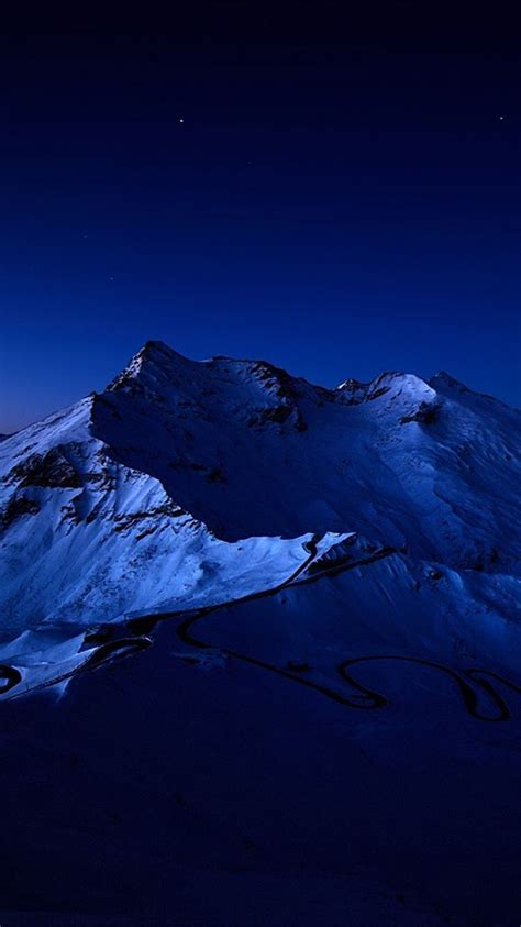 night sky  snow mountain peak iphone   hd