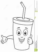 Soda Coloring Drink Cartoon Character Cup Della Bevanda Coloritura Carattere Sveglio Carta sketch template