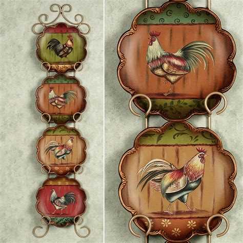 king   barnyard rooster decorative plate set rooster kitchen decor rooster decor