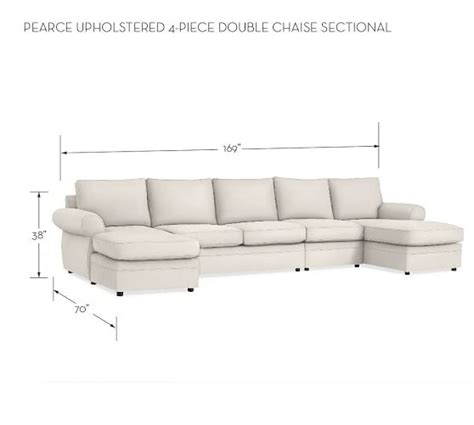 pearce upholstered 4 piece double chaise sectional
