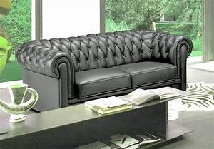 Canapé Chesterfield Gris : canap 3 places en cuir mobilier priv ~ Teatrodelosmanantiales.com Idées de Décoration