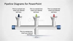 3 Input To 1 Output Horizontal Pipeline Diagram For Powerpoint