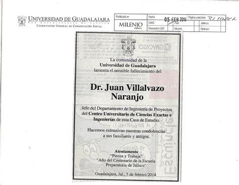 Nota De Prensa Juan Bosch Esquela Dr Juan Villalvazo Naranjo Centro Universitario