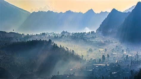 mist sunrise nature village mountain sun rays