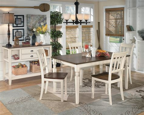 two tone kitchen table signature design whitesburg d583 25 rectangular